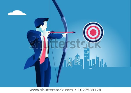 Stock photo: Businessman aiming bow and arrow
