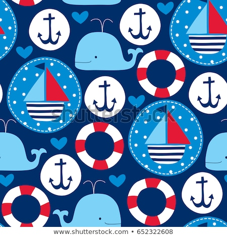 Stock photo: whales retro seamless pattern