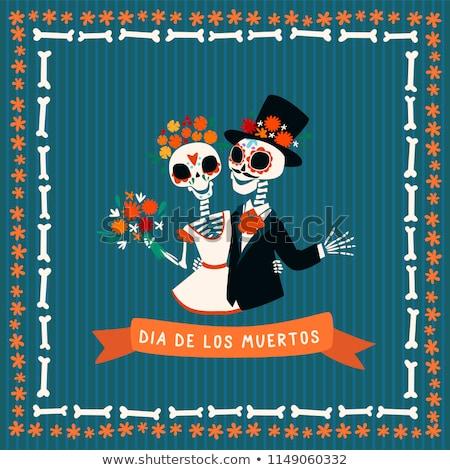 Funny skull couple with flowers. Stock photo © ekapanova