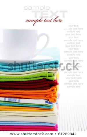 blue coffee cup over kitchen towel stock photo © karandaev