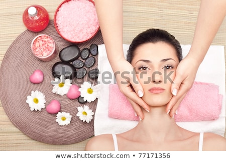 Woman enjoying therapy in spa with color therapy Stock photo © Kzenon