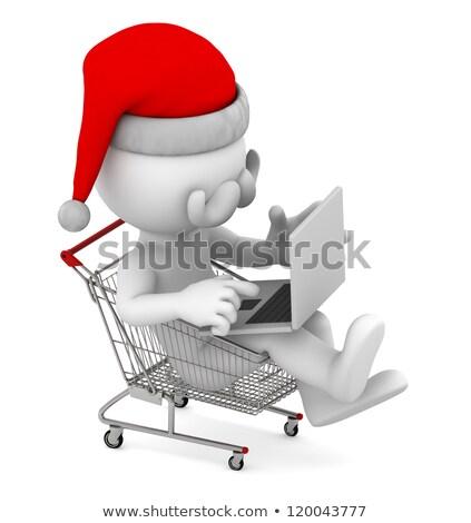 mikulás · bevásárlókocsi · fehér · férfi · vásárlás · jókedv - stock fotó © kirill_m