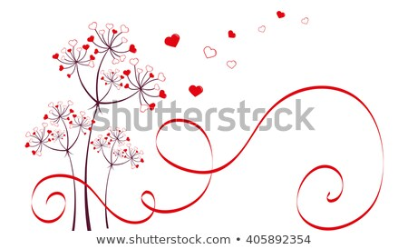 Foto stock: Dandelion With Red Hearts Vector