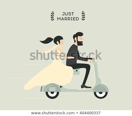 bruid · paardrijden · bruidegom · gelukkig · paar · Maldiven - stockfoto © kzenon