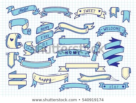 hand drawn ribbon banner on grunge paper background stock photo © stevanovicigor
