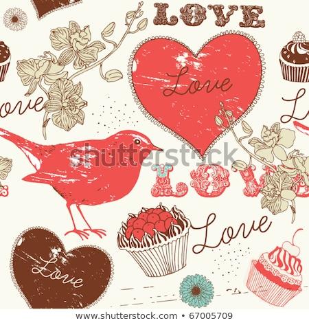 bonitinho · aves · corações · vetor · textura - foto stock © heliburcka