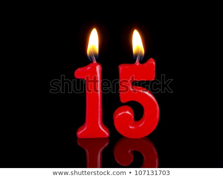 Burning birthday candles number 15 Stock photo © Zerbor