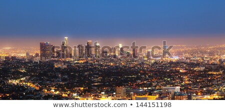 Los · Angeles · linha · do · horizonte · céu · edifício · fundo · silhueta - foto stock © meinzahn