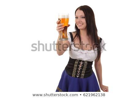 Kadın cam bira genç Stok fotoğraf © runzelkorn