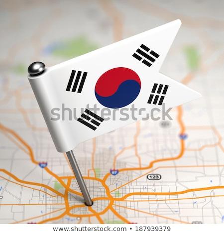 Güney Kore küçük bayrak harita seçici odak arka plan Stok fotoğraf © tashatuvango