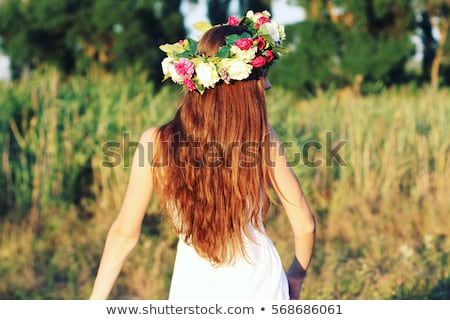 Stock fotó: Portré · fiatal · lány · virág · korona · tulipánok · liliom