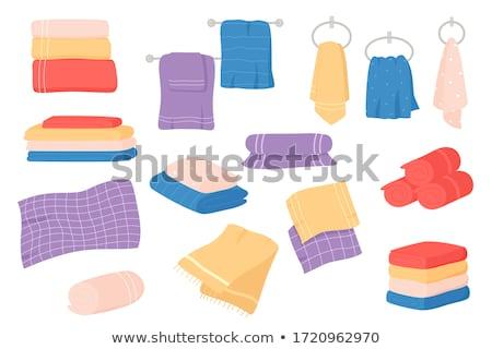 Mydło ręcznik różowy niebieski ręczniki kamień Zdjęcia stock © Kurhan