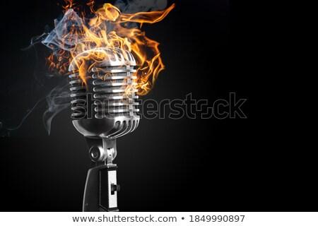 Сток-фото: микрофона · огня · классический · 3D · металл · музыку