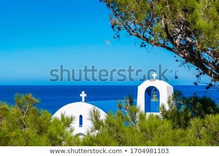 Kapel zee Griekenland Blauw reizen steen Stockfoto © haraldmuc