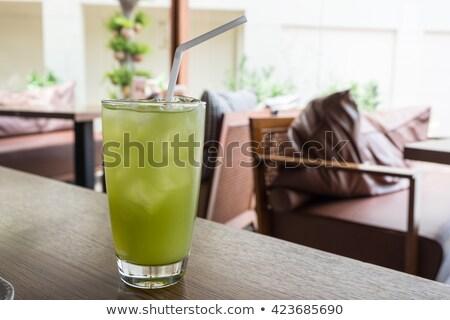 Vetro ghiacciato verde bere paglia alimentare Foto d'archivio © punsayaporn