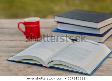 criador · tempo · copo · café · livro · estoque - foto stock © nalinratphi