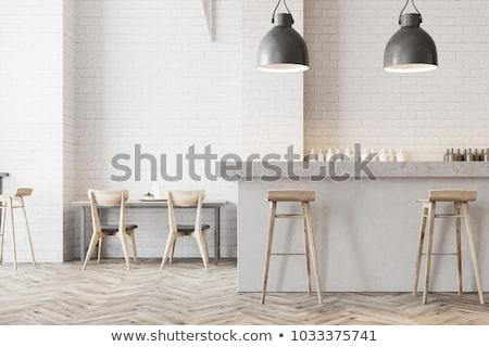 glas · eettafel · stoelen · drie · metaal · voedsel - stockfoto © kash76