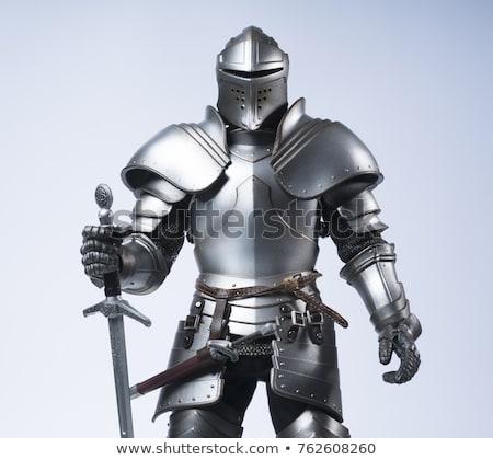 cavaleiro · branco · fundo · segurança · guerra · castelo - foto stock © kimmit