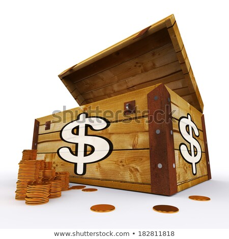 Dollar Chest Of Coins Shows American Prosperity And Economy Stock photo © stuartmiles