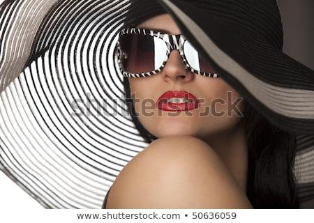 Aantrekkelijk jonge vrouw zwart wit korset patroon Stockfoto © Elisanth