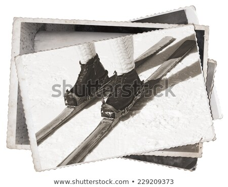 Vintage Old photos Wooden skis Stock photo © smuki