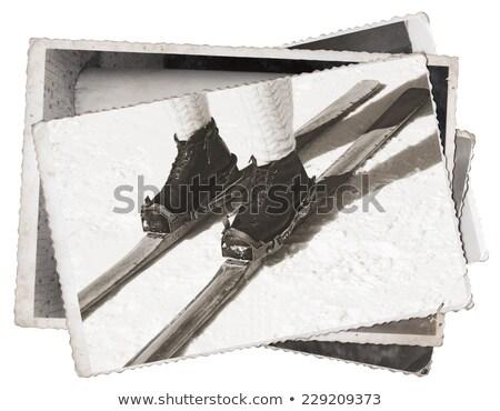 oude · houten · leder · ski · laarzen · winter - stockfoto © smuki