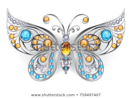 background with silver ornaments and precious stones Stock photo © yurkina