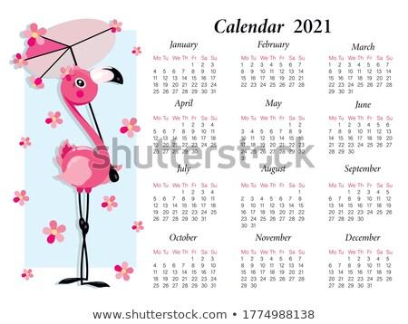Meisje paraplu flamingo jong meisje bloemen Stockfoto © nizhava1956