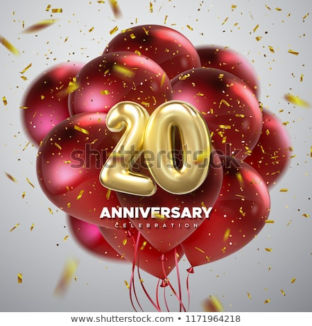 Red balloons with ribbon - Number 20 Stock photo © Zerbor