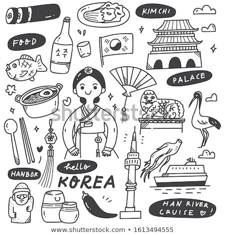 Photo stock: Asian · fille · fan · baguettes · trois · design