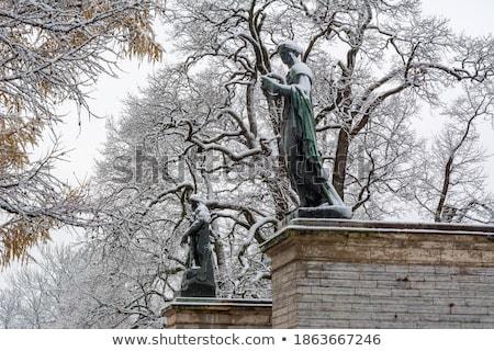 Statue galerie hiver jardin ciel neige Photo stock © Pilgrimego