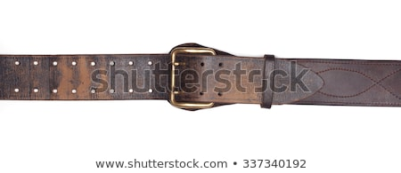 Isolated brown leather belt with buckle Stock photo © njnightsky