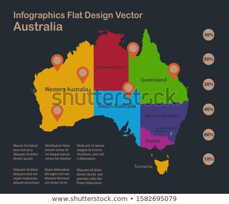 Oranje knop afbeelding kaarten tasmanië vorm Stockfoto © mayboro