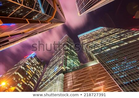Singapur gece iş gökyüzü gün batımı ışık Stok fotoğraf © Elnur