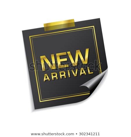 new arrival golden sticky notes vector icon design stock photo © rizwanali3d