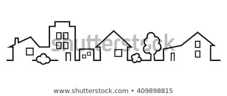 groep · huizen · hand · tekening · vector · eps - stockfoto © leonardo