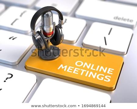 Stockfoto: Online · oranje · toetsenbord · knop · vinger · voortvarend