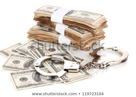 Sok dollár bilincs izolált fehér zöld Stock fotó © tetkoren
