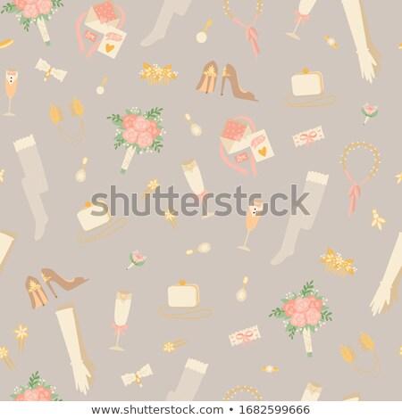 esküvői · torta · madarak · vektor · aranyos · virág · szív - stock fotó © netkov1