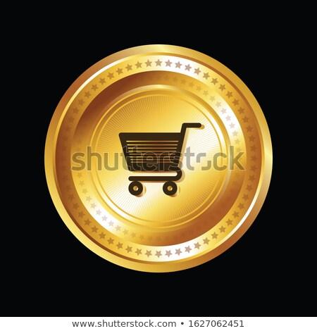 Winkelen vector goud web icon knop Stockfoto © rizwanali3d