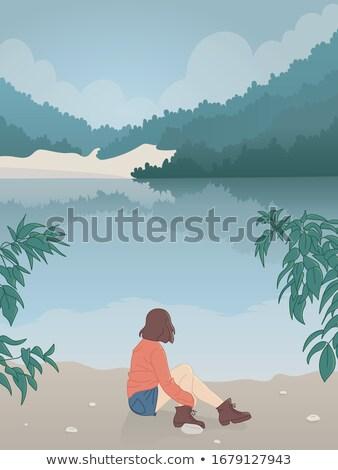 Entspannenden Ufer Frau Badeanzug Wasser Sonne Stock foto © alphaspirit