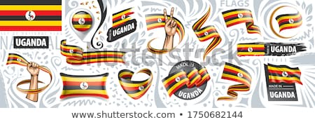 Uganda vidék zászló térkép forma szöveg Stock fotó © tony4urban