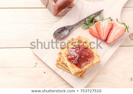 Stock fotó: Eper · lekvár · szelet · tányér · édes · közelkép