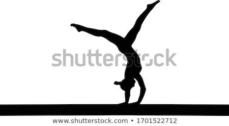ストックフォト: 女の子 · 逆立ち · 強い · アスレチック · 少女 · 黒
