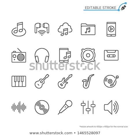 Áudio · arquivo · linha · ícone · vetor · isolado - foto stock © rastudio