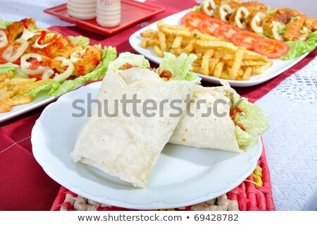 Салат · картофеля · соус · продовольствие · рыбы - Сток-фото © sebikus