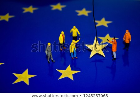 Zdjęcia stock: Uropejskie · flagi · w · Brukseli