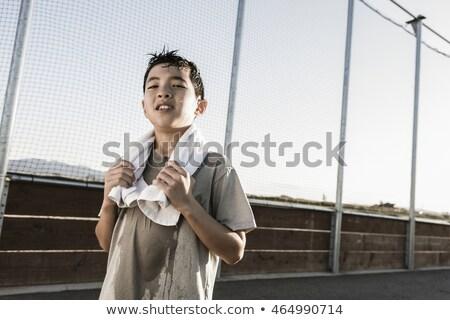 sweating boy after sports Stock photo © meinzahn