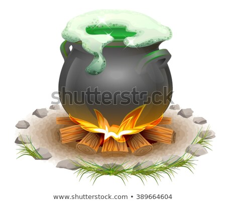 Magical potion brewed in pot. Magic ale St Patricks Day. Full pot on fire Stock photo © orensila