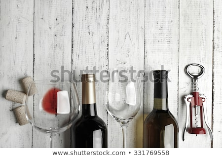 Stock photo: Wine bottle and glass composition background